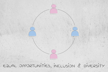 gender equality: gender equality and inclusive workplace concept: minimalistic illustration of a team with men and women (circle version)