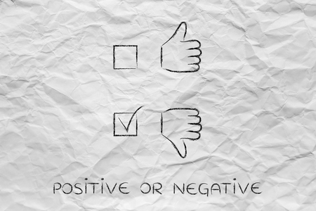 chosen: thumbs up and thumbs down tick the case illustration, with negative answer chosen