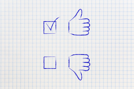 chosen: thumbs up and thumbs down tick the case illustration, with positive answer chosen