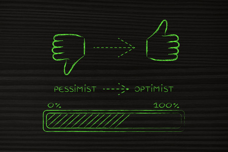 hesitant: thumbs down to thumbs up, progress bar illustration on becoming positive