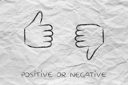 unhappiness: thumbs up and thumbs down, minimal chalk outline illustration