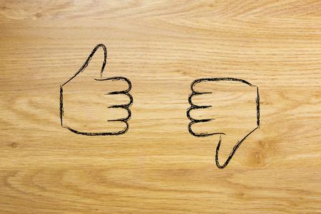 pessimist: thumbs up and thumbs down, minimal chalk outline illustration