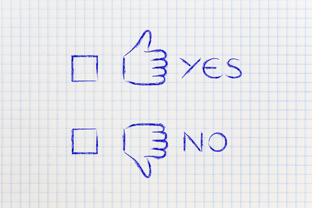 unhappiness: thumbs up and thumbs down tick the case illustration, with text yes or no Stock Photo