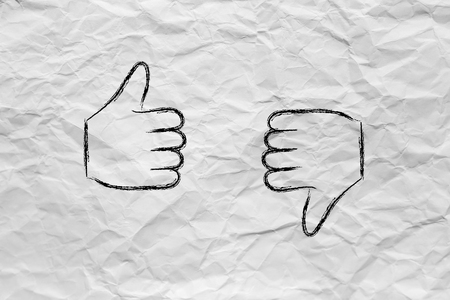 hesitant: thumbs up and thumbs down, minimal chalk outline illustration