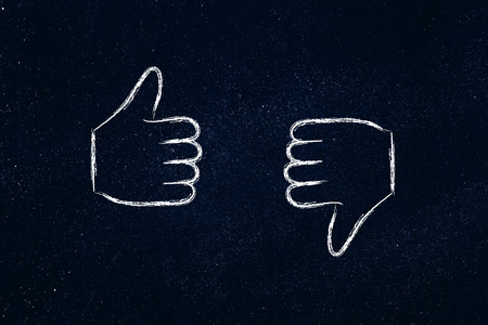 chalk outline: thumbs up and thumbs down, minimal chalk outline illustration