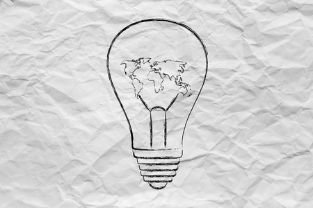 eonomy: lightbulb with map of the world instead of filament