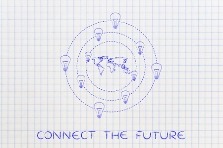 revolve: concept of solutions and ideas for an hyper-connected world: lightbulbs revolving around a map of the globe Stock Photo