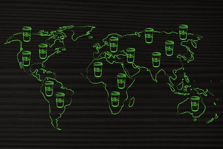 la cafeína y la productividad: mapa del mundo con vasos de café en todo Foto de archivo