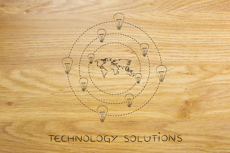 concept of solutions and ideas for an hyper-connected world: lightbulbs revolving around a map of the globe Stock Photo