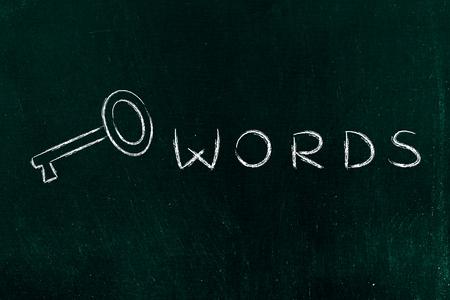 metadata: Keywords text written with actual key, funny minimal chalk outline illustration