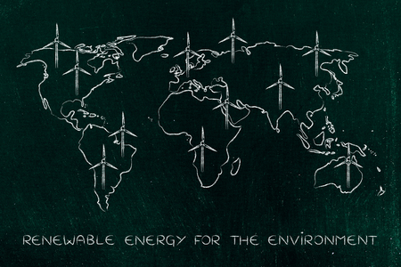 land management: concept of renewable energy: map of the world with wind turbine all over Stock Photo