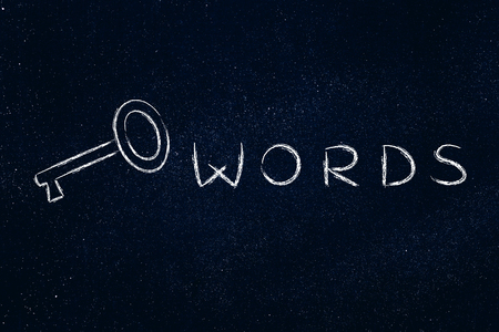 chalk outline: Keywords text written with actual key, funny minimal chalk outline illustration