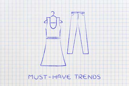 markdown: concept of fashion industry trends and choices: dress and jeans illustration, chalk outline style