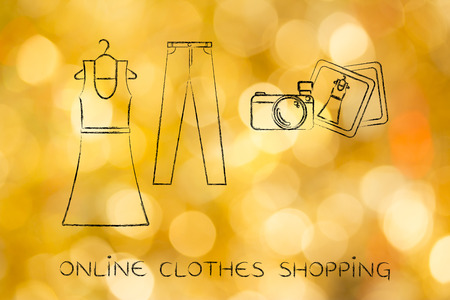 markdown: concept of fashion industry trends and blogging: dress and jeans illustration with pictures and camera, chalk outline style Stock Photo