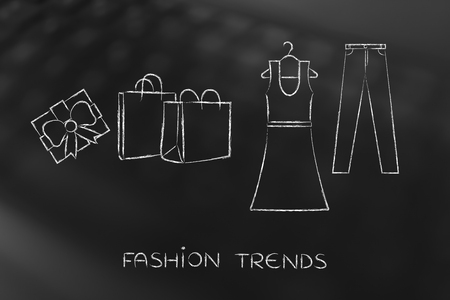 industry trends: concept of fashion industry trends and choices: dress and jeans illustration with shopping bags and present, chalk outline style