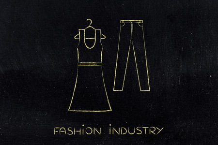 industry trends: concept of fashion industry trends and choices: dress and jeans illustration, chalk outline style