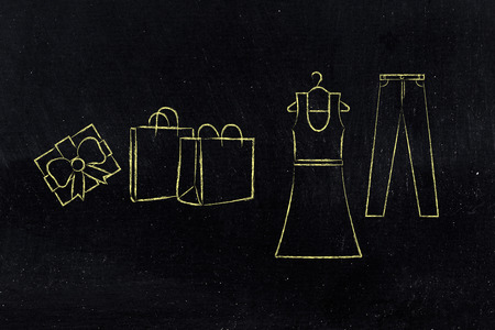markdown: concept of fashion industry trends and choices: dress and jeans illustration with shopping bags and present, chalk outline style