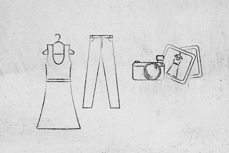 industry trends: concept of fashion industry trends and blogging: dress and jeans illustration with pictures and camera, chalk outline style Stock Photo