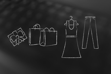 concept of fashion industry trends and choices: dress and jeans illustration with shopping bags and present, chalk outline style