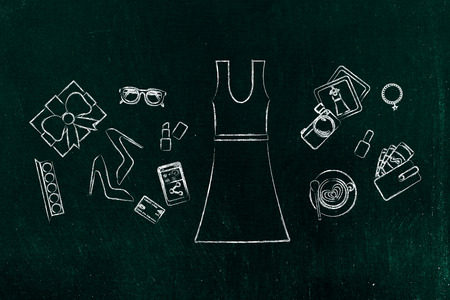 industry trends: concept of fashion industry trends & shopping: dress surrounded by accessories, chalk outline style Stock Photo