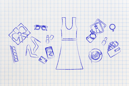 markdown: concept of fashion industry trends & shopping: dress surrounded by accessories, chalk outline style Stock Photo