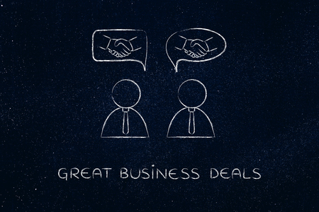 extrovert: concept of negotiations and making deals: businessmen talking and handshake icons into comic bubbles Stock Photo