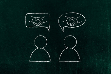 extrovert: concept of agreeing with someone or meeting new people: men talking and handshake icons into comic bubbles Stock Photo