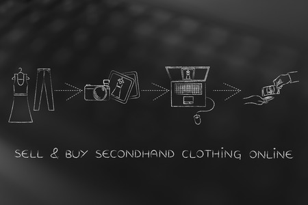 secondhand: concept of selling and buying secondhand fashion online: select items, take photos to make ads and get paid for sales