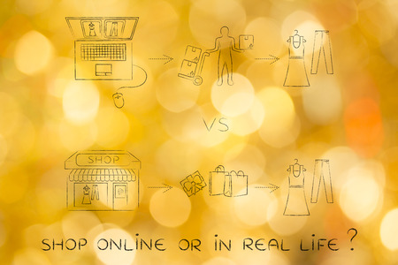 industry trends: concept of online shops vs physical store: illustration with steps to buy the same new clothes through web order & delivery or visiting a brick and mortar place Stock Photo