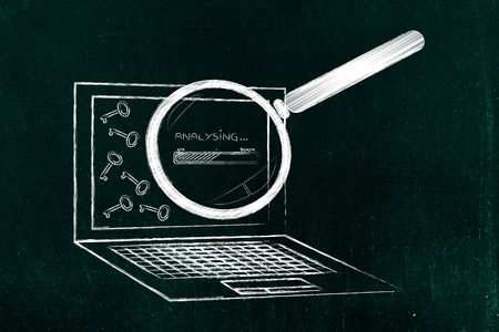 metadata: analysing and suggesting keywords concept: laptop with progress bar processing info, keys and magnifying glass