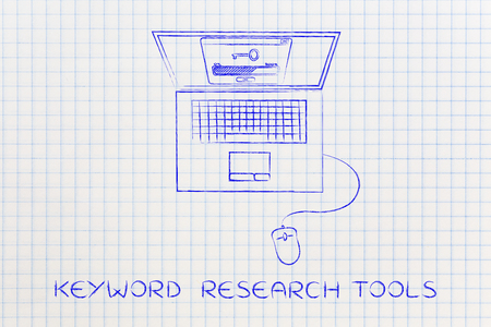 metadata: analysing and suggesting keywords concept: laptop with progress bar processing info with key icon above Stock Photo