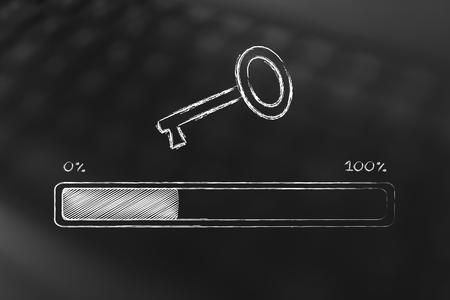 metadata: analysing and suggesting keywords concept: funny metaphor of progress bar with key icon Stock Photo