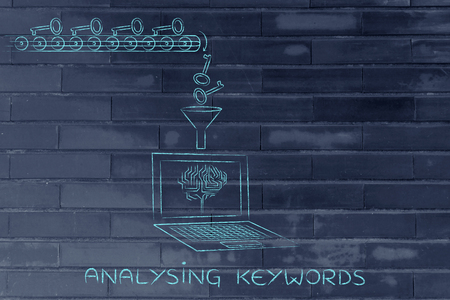 metadata: analysing and suggesting keywords concept: laptop with funnel and production line dropping keys for an electronic brain to elaborate