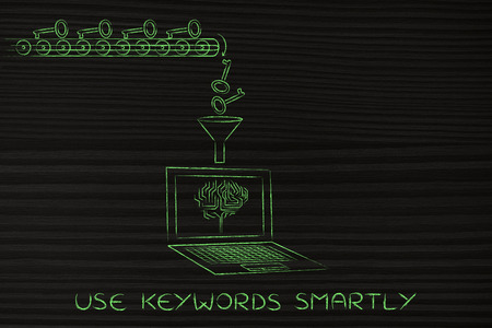 elaborate: analysing and suggesting keywords concept: laptop with funnel and production line dropping keys for an electronic brain to elaborate