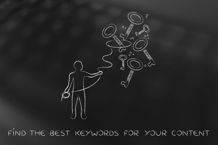 metadata: concept of choosing the keywords to help your content reach success: man with lasso catching keys with text Keyword on it Stock Photo