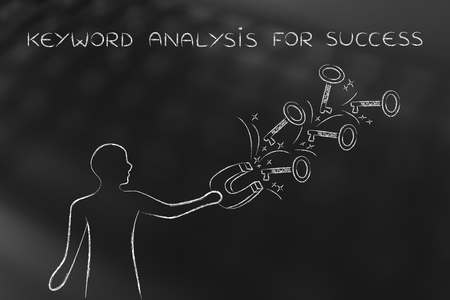 choosing the keywords to help your content reach success: man with magnet grabbing keys with text Keywords on them