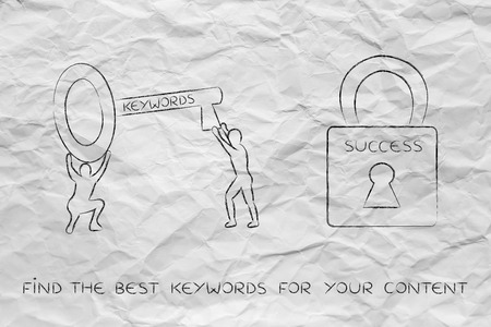 choosing the keywords to unlock your contents success: man with huge key with text Keywords on it next to Success lock Stock Photo
