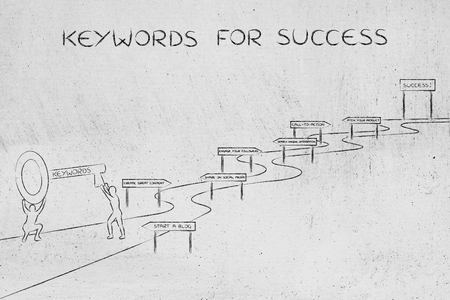 concept of choosing the keywords to help your content reach success: men holding huge key with text Keyword on it about to climb the path to success