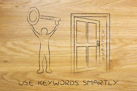 metadata: concept of choosing the keywords to help your content reach success: man holding huge key with text Keyword on it next to semi-open door