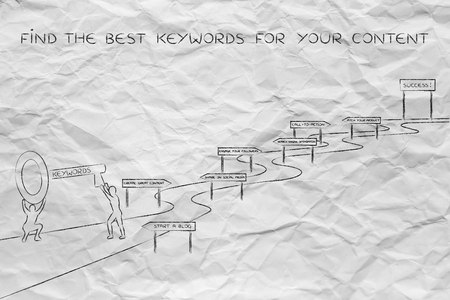 metadata: concept of choosing the keywords to help your content reach success: men holding huge key with text Keyword on it about to climb the path to success