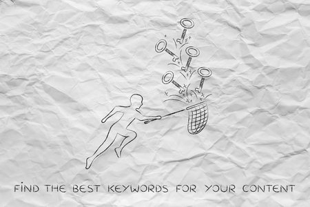 butterfly net: concept of choosing the keywords to help your content reach success: man holding butterfly net collecting keys with text Keywords on them Stock Photo