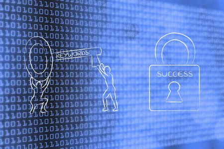 metadata: choosing the keywords to unlock your contents success: man with huge key with text Keywords on it next to Success lock Stock Photo