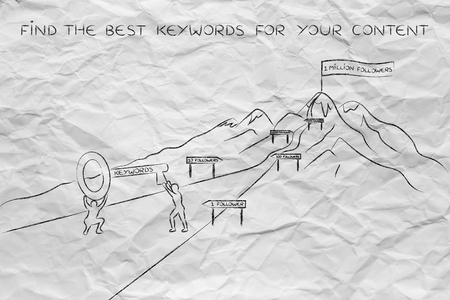 metadata: concept of choosing the keywords to help your content reach success: men holding huge key with text Keyword on it on a hike path to success