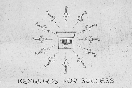 metadata: keywords to help your content generate views: laptop surrounded by keys (arrows version)