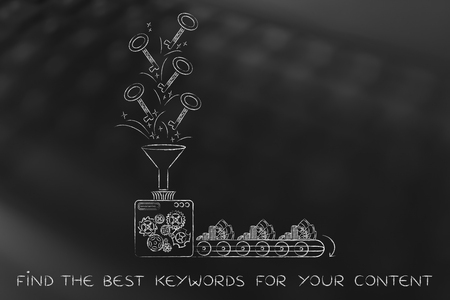 keywords to help your content generate profits: funny factory machine with production line turning keys into cash