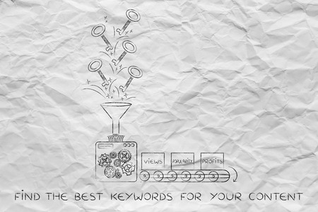 metadata: keywords to help your content reach success: funny factory machine with production line turning keys into boxes with label  Views Popularity and Profits