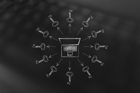 keywords to help your content generate views: laptop surrounded by keys (arrows version)