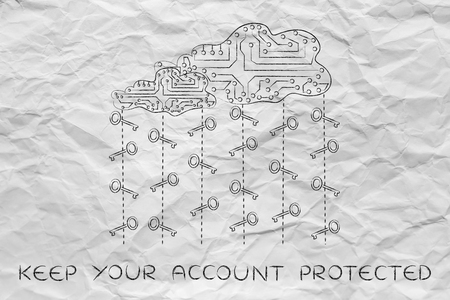 passwords: concept of secure passwords and cloud storage: circuit cloud with rain of keys