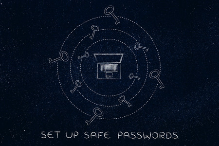 concept of choosing and saving safe passwords: laptop with circles of keys revolving around it Stock Photo