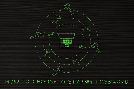 passwords: concept of choosing and saving safe passwords: laptop with circles of keys revolving around it Stock Photo